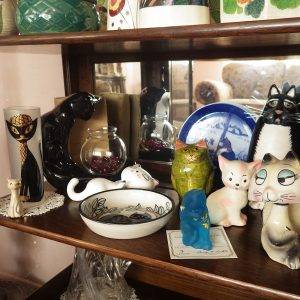 Cat collection display - antique and vintage collectibles