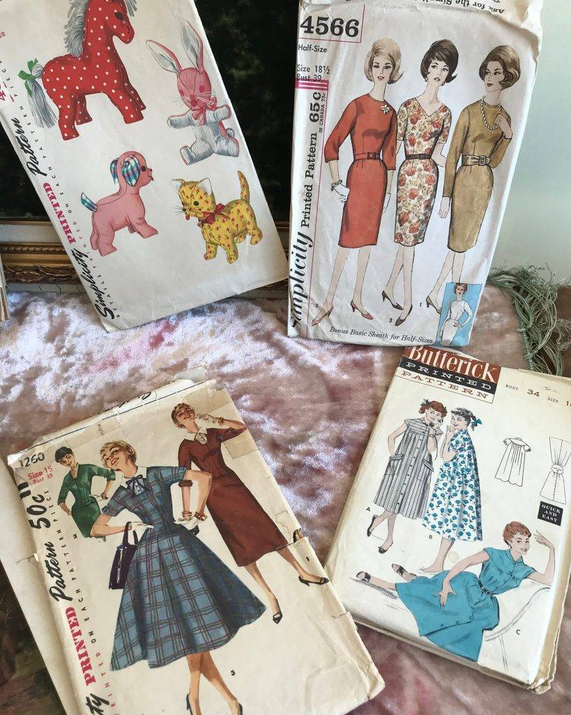 Close-up view of more vintage Simplicity patterns