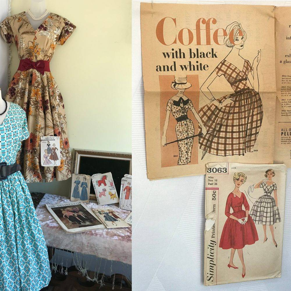 Newly sewn dresses and their vintage sewing patterns