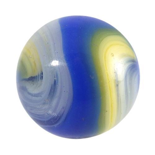 19mm Akro Agate Blue Yellow Popeye Corkscrew Marble