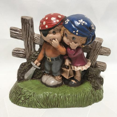 1970s Girl and Boy Playing Pirate Painted Chalkware