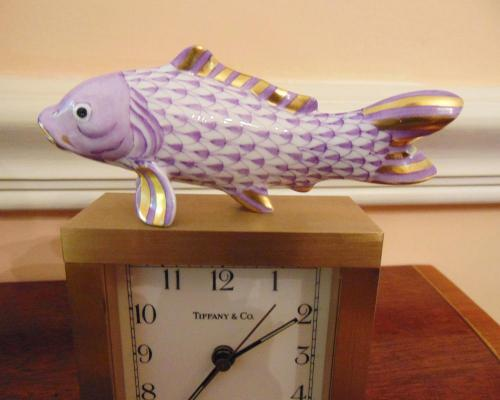 Vintage Porcelain Herend Fish Scale Figurine in Lilac