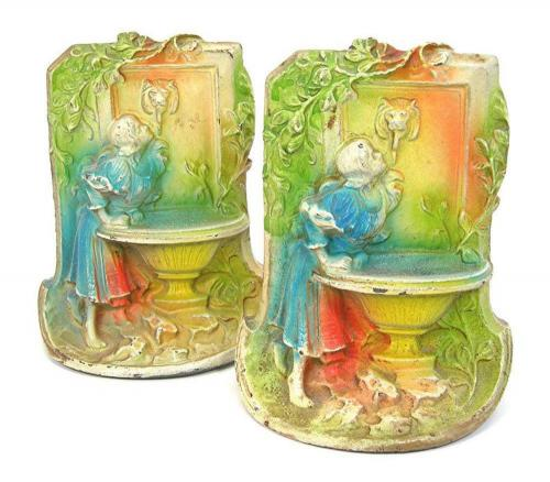 Maiden at the Fountain Vintage Cast Iron Bookends