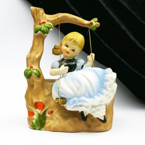 Girl on Swing Vintage 1950s Figural Planter