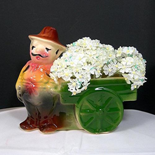 Vintage Shawnee Pottery Planter Mustached Man at Flower Cart Wagon