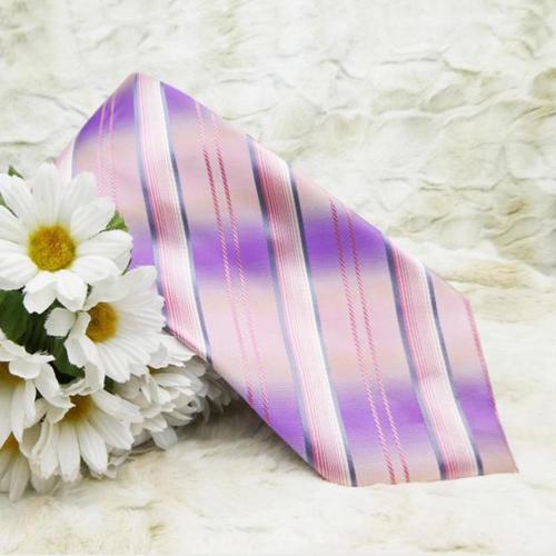 Italian Silk Necktie in Purple Pink Stripe - Mariano Fortuni Milano