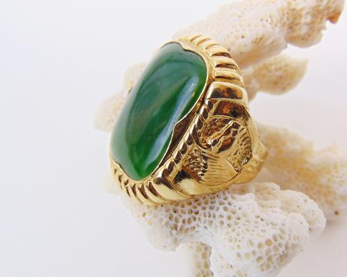 Men's Vintage Gold Vermeil Nephrite Jade Sterling Silver Ring
