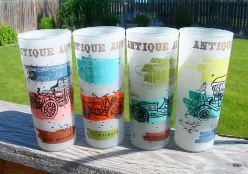 Set of 4 Frosted Vintage Anchor Hocking Automobile Zombie Barware Glasses