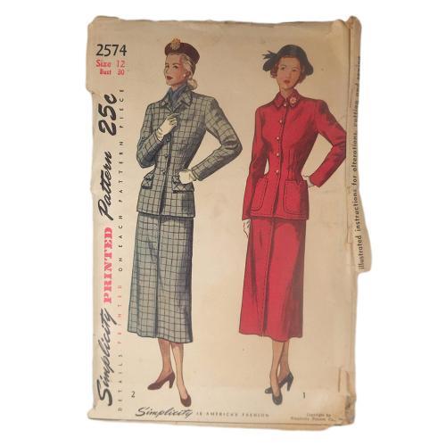 Uncut 1940s Simplicity Misses 2pc Suit Vintage Sewing Pattern
