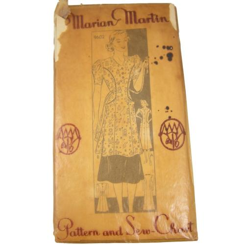 Uncut Vintage Sewing Pattern Marian Martin 1930s House Frock