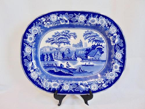 Antique c 1840 Historic Scene Blue and White Staffordshire Transferware Platter