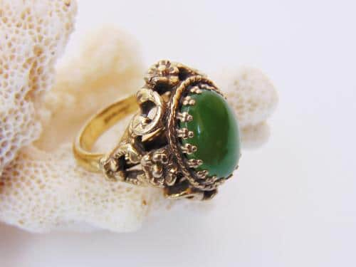 Old Stock Green Nephrite Jade Ring Botanical Setting