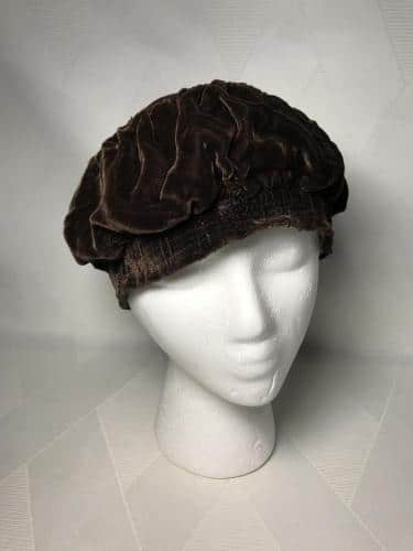 Antique Brown Velvet Effeness Flapper Era Slouch Hat