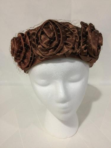 1960s Mocha Satin Roses on Velvet Veiled Pillbox Hat