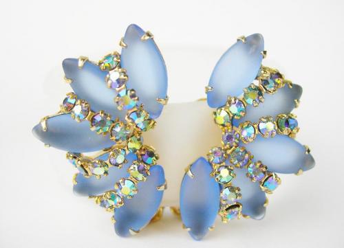 Vintage Blue Rhinestone Bridal Clip-On Earrings