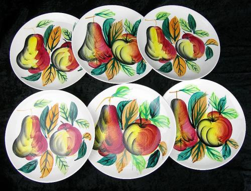 Set of 6 Vintage Salad Plates Decorated with Fruit