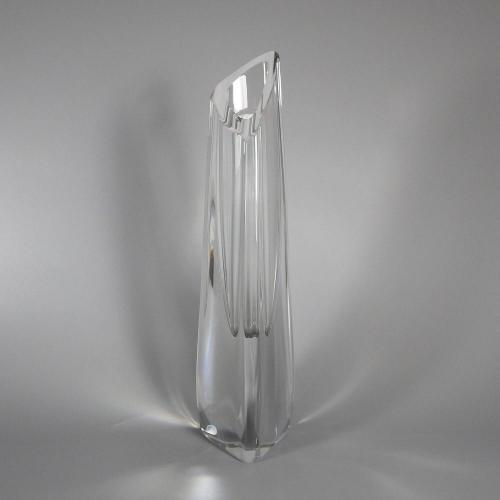 Tall Signed Baccarat Crystal Triangle Bud Vase Elegant Deco