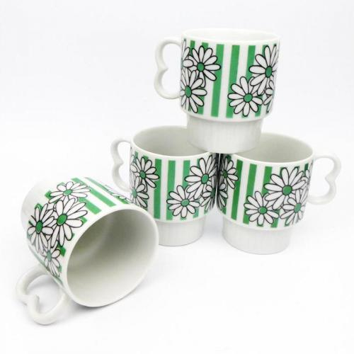 1960s Stacking Mugs Flower Power Green Stripes and Daisies